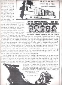 Joven Guardia Madrid 17 Septiembre 1977